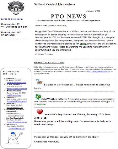 Pta School News Letter
